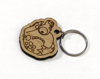 Ronnedger the Timid Monster - Unpainted Wood Laser-Cut Keychain -