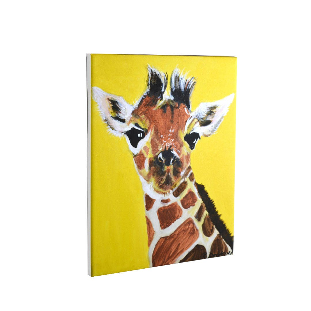 Colorful Giraffe Painting Jungle Art Canvas Wall Art