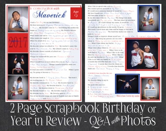 Year In Review- In Conversation With... 20 Questions with up to 8 Photos- Teen Birthday Idea- Premade Scrapbook Page- Personalized Pages