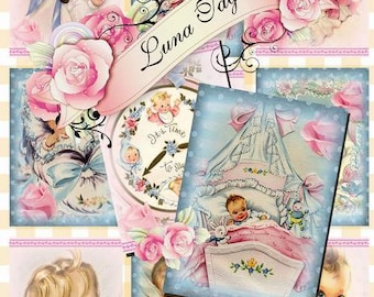 INSTANT DOWNLOAD Vintage Baby Cards  No.390