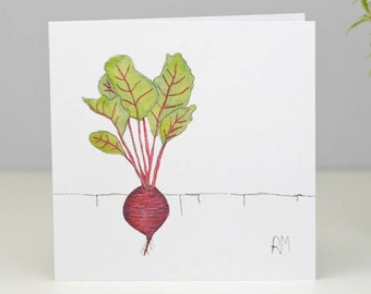 Beetroot Card - Chef Birthday Card - Birthday Card for Gardener - Birthday Card for Chef - Rose of Stitching -  Blank