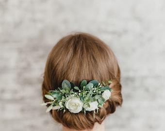 Bridal Flower Comb Wedding Floral Headpiece Greenery Hair Comb Flower Headpiece Floral Hair Comb White Flower Hair Comb Woodland Bridal Comb