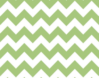 Green Chevron - Laminated Cotton,  42 Inches Wide, BPA and PVC Free, Family Friendly