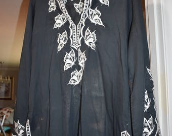Butterfly Black Cotton Women's Tunic Long Sleeved Size 16/ Cotton Tunics/ Butterfly Shirts/ Women's Tunics Size 16/ Hand Embroidered Tunics