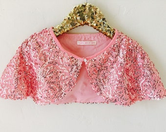 Beaded Pink capelet Sequins Cape Shrug Bolero Cover up Bridal Cape Peach Pink flowergirl capelet