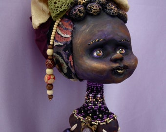 Dark skin doll OOAK - African art interior doll - Collectible beads jointed doll - Monifa black skin baby girl