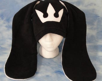 White Kingdom Hearts Bunny Hat Rabbit Ears Crown Fleece