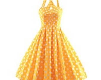 Vintage Polka Dot Halter Neck Summer Dress