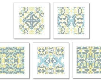 Blue Yellow Grey Art Set of 5 Prints
