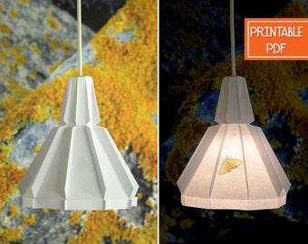 Paper pendant lamp orange moth printable diy lamp paper pendant light yellow moth printable diy lamp geometric lighting origami lampshade paper light shade solutioingenieria Images