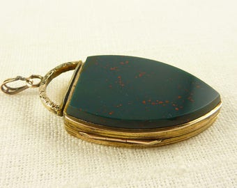 Antique Victorian Gold Filled Huge Shield Shaped Bloodstone Masonic Locket with Photo