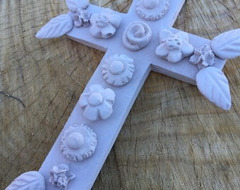 Mexican Rustic Cross Monochromatic Beige Taupe wall hanging Religious Decor handmade from plaster