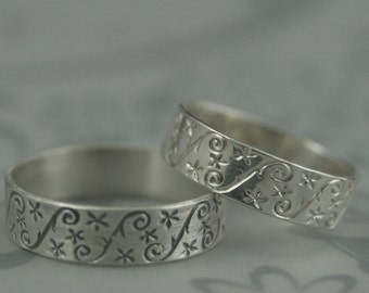Silver Patterned Band--Gypsophila--Whimsical Ring--Baby's Breath Ring--Floral Ring--Flat Band--Flower Design Band--Silver Wedding Band