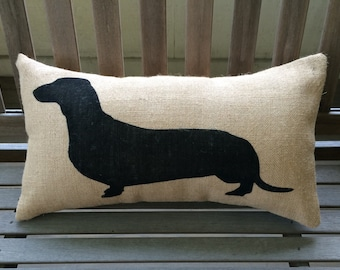 Dachshund - Wiener Dog Burlap Pillow - Dog Lover Gift -  *SHIPS Within 3 DAYS!