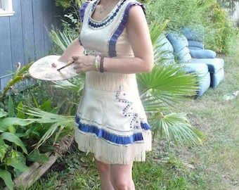 Burlesque Blue White Satin Majorette Two Piece Dress trimmed with Fringe size Small by jeansvintagecloset on Etsy