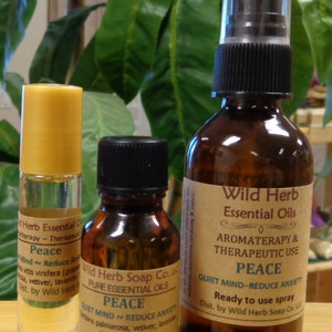 PEACE Essential Oil Blend for Therapeutic & Aromatherapy Use (Organic Oils) Choose Roll On Bottle, Sprayer, Full Strength - EXCLUSIVE BLEND!