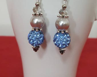 Beautiful earrings with disco glitter, acrylic beads and small glass beads