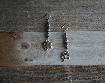 Clover Dangle Earrings, Silver Four Leaf Clover Earrings, Beaded Drop Earrings, Clover Charm Earrings, Irish Earrings, Lucky Earrings