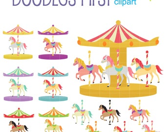 Fancy Carousel Digital Clip Art for Scrapbooking Card Making Cupcake Toppers Paper Crafts