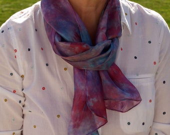 Purple and Pink Hand Painted Silk Scarf