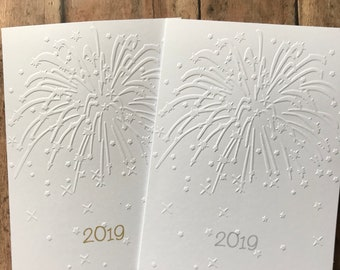 New Year's Card Set, Fireworks Card Set, White Embossed Cards, Stationery Set, Happy New Year Card Set, 2019 Blank Note Card and Envelopes