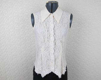 1990s Lace Sleeveless Blouse - Vintage San Andre - Bust 34 (B3)