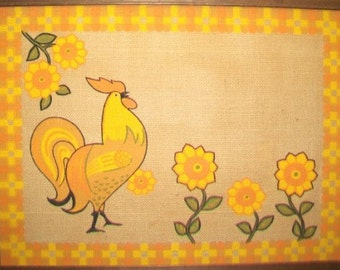 Rooster Pin Board, Mod Mid Century Bulletin Kitchen Cork Board
