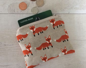 Fox coin purse, money purse, fox purse, money pouch, small zipper pouch, coin pouch, beige pouch, card wallet, orange fox