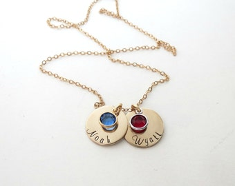 Custom Gold Necklace with Birthstones - Personalized Name Jewelry - Kids Name - Son - Daughter - Mothers - Grandma - Engraved - Womens