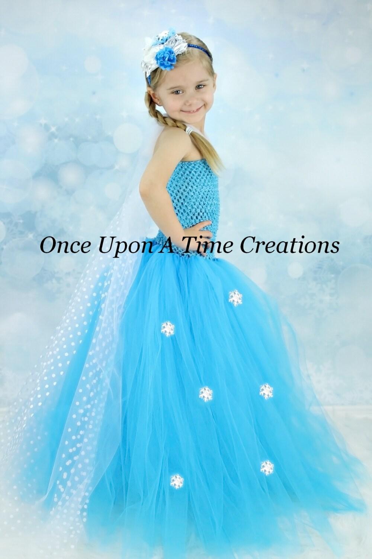 Snowflake Princess Long Tutu Dress Polka Dot Sheer Tulle Cape