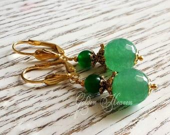 Green Jade Earrings Natural Jade Green Gemstone Earrings Handmade Earrings Gold Leverbacks dangles cute gift for her gemstone jewelry