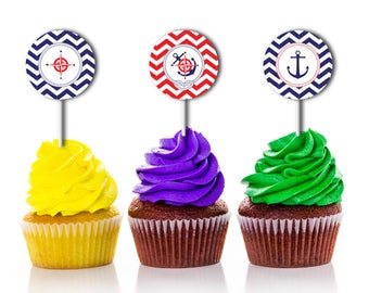 Cupcake Toppers, Baby Shower, Decor, Buttons, Tags, Stickers, Nautical, Neutral, Anchor, Favors, PDF Printable Instant Download T649I
