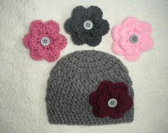 Baby girl hat with interchangable flowers, crochet baby beanie, girl hat with flowers, baby girl gift, baby gift, baby girl hat, newborn