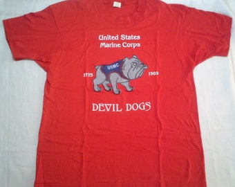 Vintage United States Marine Corp USMC Devil Dogs 1775 1989 T Shirt