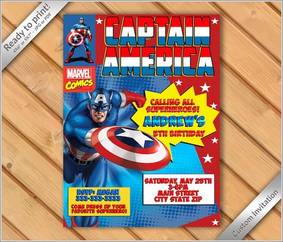 50% OFF SALE Comic Book Birthday Party Invitation Captain