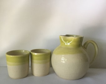 Handmade Ceramic Pitcher and Tumbler/Cup Set