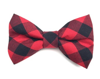 Buffalo Plaid Red & Black Dog Bow Tie