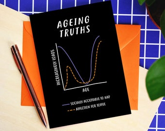 Ageing Truths Birthday Card - funny birthday card - getting older - birthday card for older person