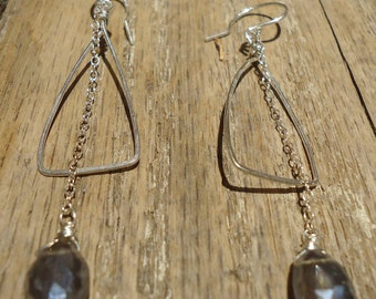 Sterling Silver Triangle Hoop Earrings with Labradorite Gemstones