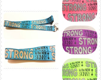 Fitness Lanyard, Badge Holder or Keychain. Strong is the new skinny! Gift for her, Fitness gift, Crossfit gift