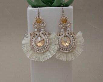 jewelry earrings statement jewelry ethnic seed beads earrings wife birthday gift white tassel earrings boho wedding jewelry soutache