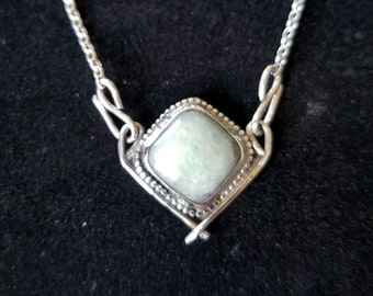 Jade necklace. Lovely pale green jade handmade necklace