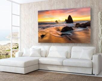 Beach Photography, California Beach Print, Ocean Sunset Canvas, Seascape Art , California Rocky Seascape Art, Marin Coast, Rocky, Fine Art,