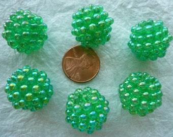20mm Vintage Raspberry Beads Christmas Green (6) NOS