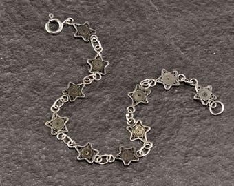 Black filigree Star Bracelet in hand-crafted silver