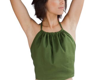 Womens Hunter Green Open Back Halter Top by Tropic Bliss