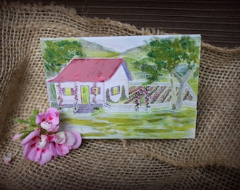 3D photo card, note card, hand painted, greeting card