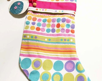 Girls Christmas Stocking, Whimsical Christmas Stocking, Kids Christmas Stocking