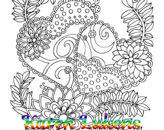 "Valentine's - ""Love Blooms 2"", 1 Adult Coloring Book Page, Printable Instant Download, Karen Lukens"