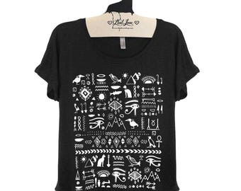 Small-  Tri-Blend Black Dolman Tee with Egyptian Hieroglyphs Screen Print